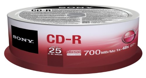 Sony 25CDQ80SP CD-R Rohlinge (1-48x Speed, 700MB, 80 Min, 25-er Stück Spindel)