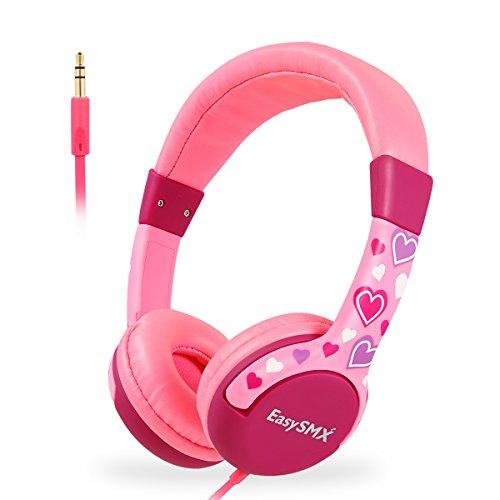 EasySMX Auriculares, Auriculares Cascos de Diadema para Niños Auriculares Infantiles con Cable, 3.5 mm Jack, Volumen Limitado de 85dB, Plug y Play, Bueno Regalo para Niños de 3-12 Edad (Rosa)