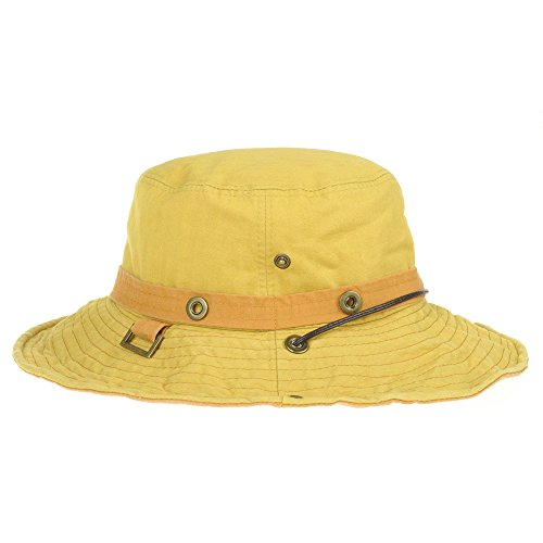 WITHMOONS Casquette de Baseball Boonie Bush Hats Wide Brim Denim Camouflage Side Snap KR2190 Jaune