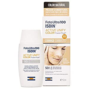FotoUltra 100 ISDIN Active Unify Color SPF 50+, aclara y unifica el tono de piel, 50 ml