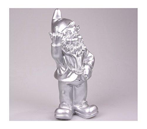Stone-Lite Figur - Gartenzwerg mit Stinkefinger - 20 cm - silberfarben - lustiges Geschenk