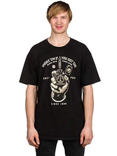 Herren T-Shirt Obey Smoke'Em Basic T-Shirt Black