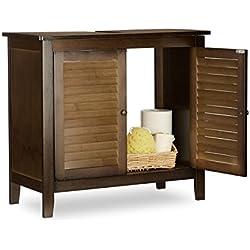 Mueble de bambú negro para lavabo 67x30x60