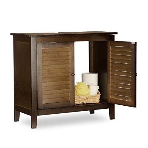 Relaxdays Waschbeckenunterschrank Dunkelbraun LAMELL, Badschrank aus Bambus, Waschbeckenschrank, HBT: 60 x 67 x 30 cm