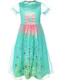 ReliBeauty – Fille – Robe de Princesse Elsa Déguisement de la reine de neiges Tenue florale à manches courte