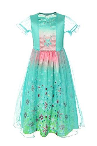 ReliBeauty Mädchen Eiskönigin Prinzessin Elsa Kostüm Kurzarm Falten Blumen Kleid, Minze Grün, 150