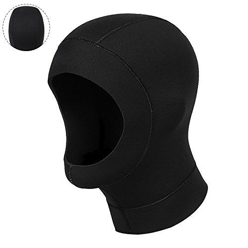 Skitic 3mm Neoprenhaube Tauchkopfhauben, Sonnenschutz Surfen Tauchen Kappe für Outdoor und Schnorcheln Schwimmen Wasser sport schwarz - M