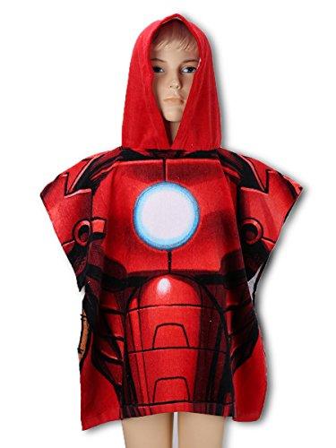 Marvel Avengers - Poncho con Cappuccio Accappatoio Asciugamano Mare Piscina - Bambino - Iron Man - Prodotto Originale 820-793