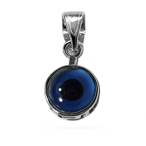 Abalorio con forma de mal de ojo griego de plata de ley