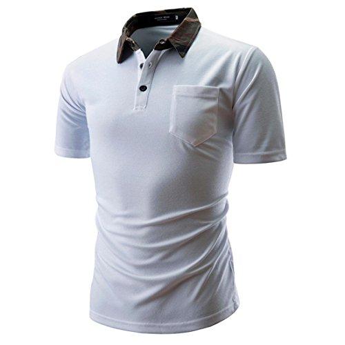 Sommer Casual Basic Einfarbige Baumwollmischung Sweatshirt T-Shirt mit Kragen Größen S-3XL (XXL, Weiß)