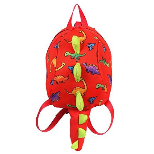 LeeY Babyrucksack Kindergartenrucksack Dinosaurier Cartoon Tier Backpack Kinder Rucksack Schultasche für 2-7Jahre Mädchen Jungen,für Schule Mini Baby Kleinkinderrucksäcke (rot) -