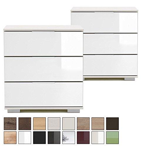Wimex 2er Nachttisch-Set NIGO für Boxspringbett, Höhe 58 cm, 3 Schubladen, Nachtkommode Glas-Front weiß, 2 Nachtschränke
