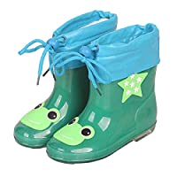 LYXFZW,Rain Boots For Kids,girls,Rubber Wellington Boots Children With Soft Plush Warm Ankle Cute Waterproof Non-Slip Boys Easy Wipe Green Frog Removable For Outdoor School Garden