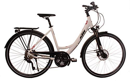 KTM Damen Trekkingbike 28 Zoll weiß Veneto Light Disc Fahrrad - STVZO Beleuchtung, Shimano Kettenschaltung, Tiefeinstieg
