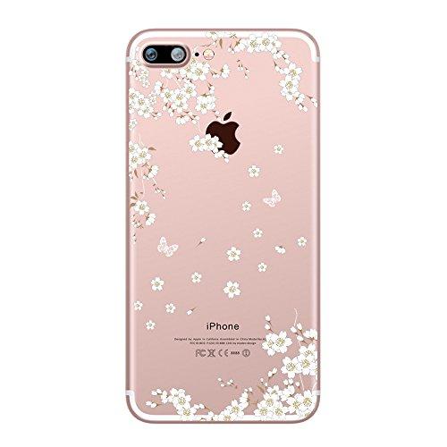 iPhone 7 Plus Hülle, UCMDA Transparent Weiche Silikon Hülle Muster TPU Case, Ultra Dünn Kratzfeste and Schützt vor Schmutz Schutzhülle Handyhülle für iPhone 7 Plus (5,5 Zoll) - Feder Weiße Sakura