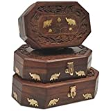 Craft Kings Wooden Antique Brown Jewellery Box With Brass Work Set Of 3