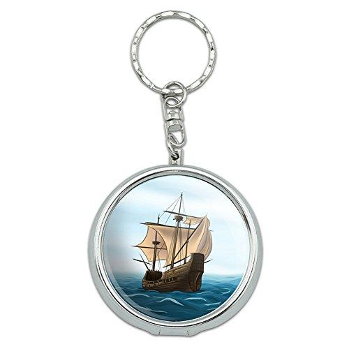 Portable Travel Größe Pocket Geldbörse Aschenbecher Schlüsselanhänger SAILING Dejeuner Pirate Ship Sail Boat Ocean (Ocean Aschenbecher)
