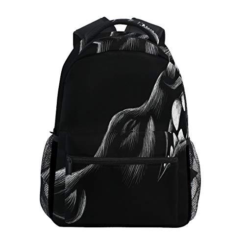 SIONOLY Rucksack,Logo Hund Wolf Tattoo,Neu Lässige Daypack School Bookbag Verstellbare Umhängetaschen Reiserucksack -