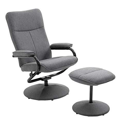 CARO-Möbel Relaxsessel Dakota mt Hocker Fernsehsessel Liegesessel Verstellbare Rückenlehne in grau