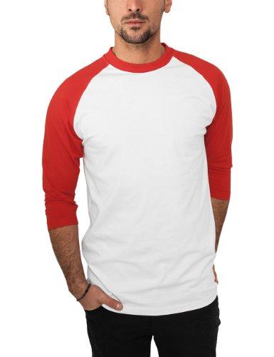 Urban Classics TB366 Herren 3/4 Sleeve Bekleidung T-Shirt mehrfarbig (Wht/red) Small (Red-raglan-Ärmel)