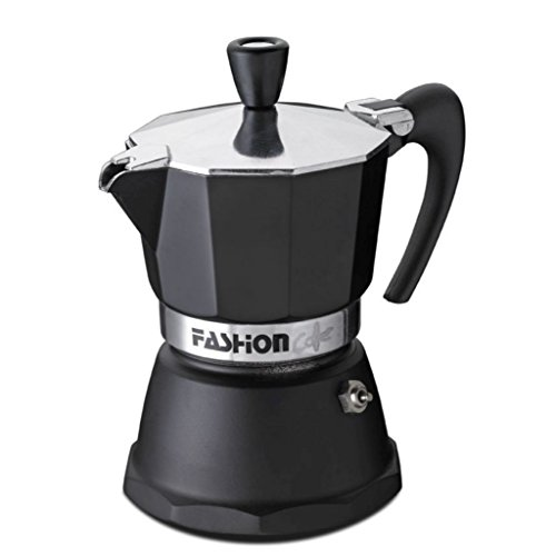 GAT Italy Fashion Italienische Espressokocher, 1 Tasse, Aluminium, Schwarz, 7 x 12 x 12 cm