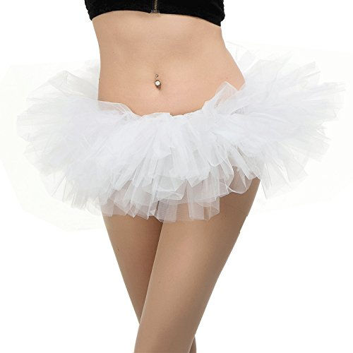BETTERLINE Tutu Ballet Skirt (One Size Fits All) with 5 Layers of Tulle & Satin Lined Waistband Miniskirt Tutu for All Women (White)