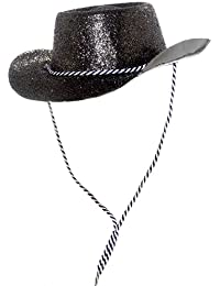 ILoveFancyDress Lot de 24 grands chapeaux de cowboy à paillettes Unisexe Noir