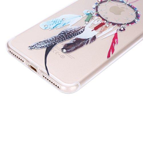 iPhone 7 Plus Hülle,iPhone 7 Plus Silikon Hülle Tasche Handyhülle,SainCat Flamingos Muster Ultra dünne Silikon Hülle Schutzhülle Durchsichtig Hadytasche Stoßfeste TPU Gel Case Bumper Weiche Crystal Ki Diamant-Kirsche