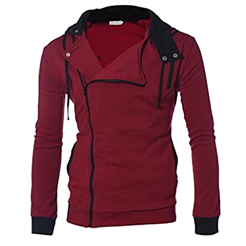 OverDose Men's Hoodies Solid Hooded Zipper Cotton Blend Hoody Outwear Jacket