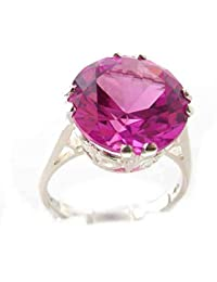 Solid Sterling Silver Womens Large 14mm Synthetic Alexandrite Vintage Solitaire Cocktail Ring
