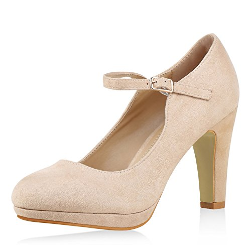 SCARPE VITA Damen Pumps Mary Janes Blockabsatz High Heels T-Strap 160323 Nude Velours 37 Damen Mary Jane Pumps