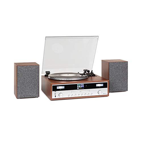 auna Birmingham HiFi Stereo-System, Internet/DAB+/FM Radiotuner, Plattenspieler, CD-Player, Bluetooth, USB, AUX-Eingang, 2 Lautsprecher mit 50 W max., Riemenantrieb mit 33 und 45 UpM
