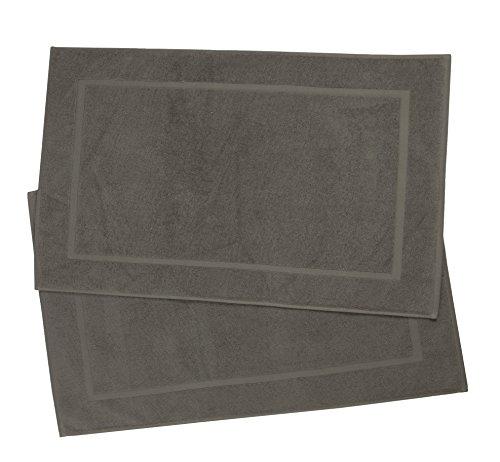 Zollner 2er-Set Badematte Badteppich aus Baumwolle, Taupe (weitere verfügbar), Größe ca. 50x75 cm