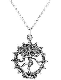 81stgeneration Frauen Männer 925 Sterlingsilber Shiva Hindu Gott-Anhänger-Halskette, 46 cm