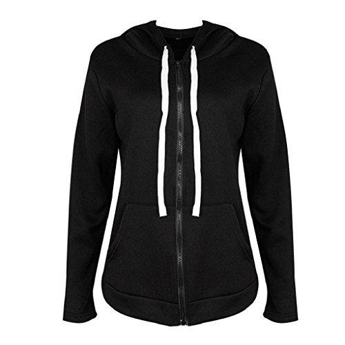 Damen Parka Mantel Warm Reißverschluss Winterjacke Mit Jacke Outerwear Blusenmantel Strickjacke (XL, Schwarz) (Kleid Blend Cashmere)