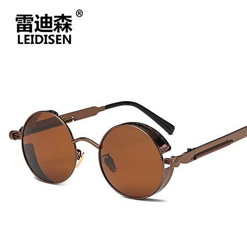 Sonnenbrille Für Männer Und Frauen High-End Fashion Runde Polarisiert Treiber Retro Punk Sonnenbrille Für Outdoor Reisen Sommer Sport Winddicht Uv400 Braun