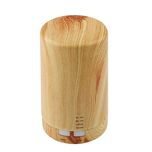 Aroma Mini Air Ultraschall-Luftbefeuchter USB-Lade 5Color führte Nachthelle Aromatherapie ätherisches Öl Aroma Diffuser for Zuhause Auto-Büro (Color : Wood Grain) -