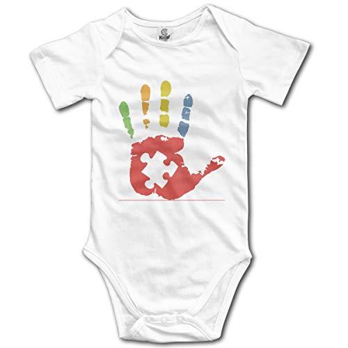 U are Friends Autismus Bewusstsein Hand Neugeborenen Mädchen Jungen Kinder Baby Strampler Kurzarm Kleinkind Overall(18 Mt,Weiß) Snap Front Denim