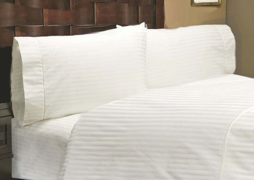 Crafts Linen Egyptian Cotton 500-Thread-Count Sateen One Fitted Sheet & Two Pillow...