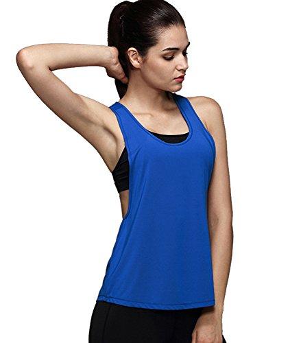 Imixcity Femme Sexy Fitness Tank Débardeur Sans Manche Loose T-Shirt De Sport Quick Dry Vest Gilet Saphir