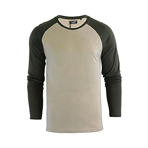 Mens T-Shirt Brave Soul Osbourne Cotton Long Sleeved Crew Neck