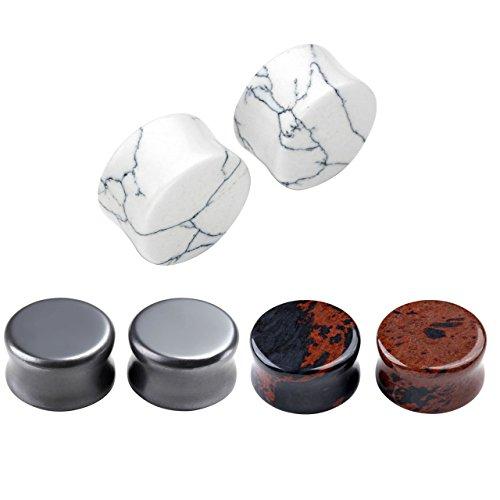 JSDDE 6pc 3 Paires Plug Ecarteur Double Faces Rond Flare Expandeur Turquoise Blanc + Acajou Obsidienne + Hématite 6mm 8mm 10mm 12mm 14mm 16mm Taille=16mm