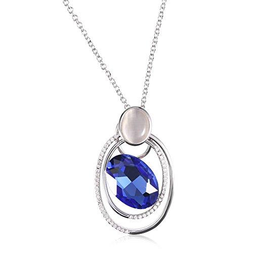 2 Types Collier de Cristal à la Mode Opale Décoration avec Strass Pendentif de Femmes Chaîne Bijoux(Argent)