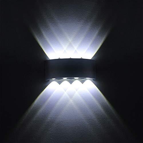 Lampe Murale LED 8W Moderne Appliques Murales IP65 Étanche Applique Luminaire En Aluminium Up Down Décoratif Spot Lumière Nuit Lampe pour Salon Chambre Hall Escalier Pathway (Blanc froid)