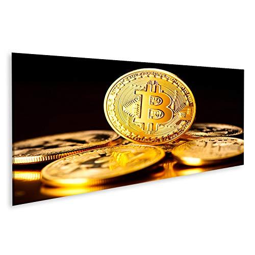 Bild Bilder auf Leinwand Bitcoin Krypto-Währung BTC-Münzen auf schwarzem Hintergrund Blockchain-Technologie Bitcoin Mining-Konzept Wandbild Poster Leinwandbild RZV (Bitcoin-technologie)