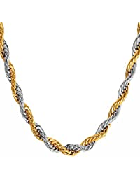 NAKABH Golden Silver Stainless Steel Rope Chain Necklace For Men