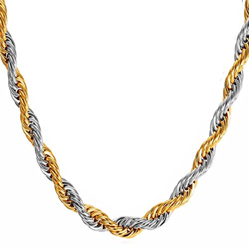 Nakabh Golden Stainless Steel Rope Chain Necklace for Men Boys (Gold Silver)