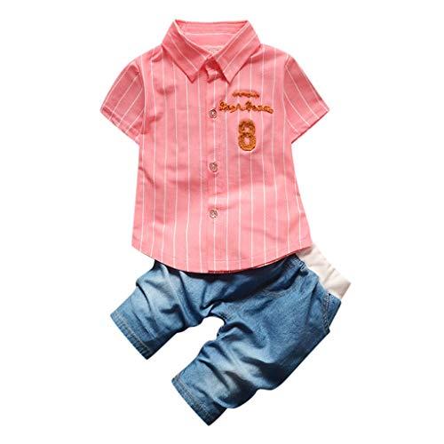 Bekleidungssets Kleidung Set Baby Jungen Kinder Shirt Tops + Jeansshorts Anzug Trainingsanzug Pwtchenty Freizeit Baumwollband Kleidung Outfits Sets