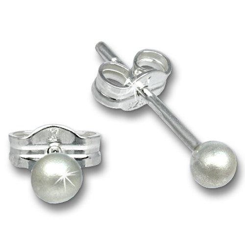 SilberDream Damen-Ohrstecker Kugel 3mm Durchmesser matt 925 Sterling Silber SDO5543