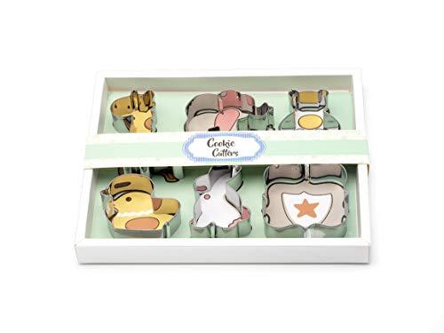 Homiso, Geschenkset Ausstechformen Tierbabymuster (set von 6) Giraffe, Elefant, Teddybär, Küken, Hase und Plakette.